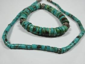 2 PC TURQUOISE BEAD NECKLACE & STRETCH BRACELET,