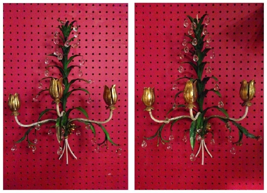 PAIR METAL WALL SCONCES WITH CRYSTAL DROPS, 3 LIGHTS