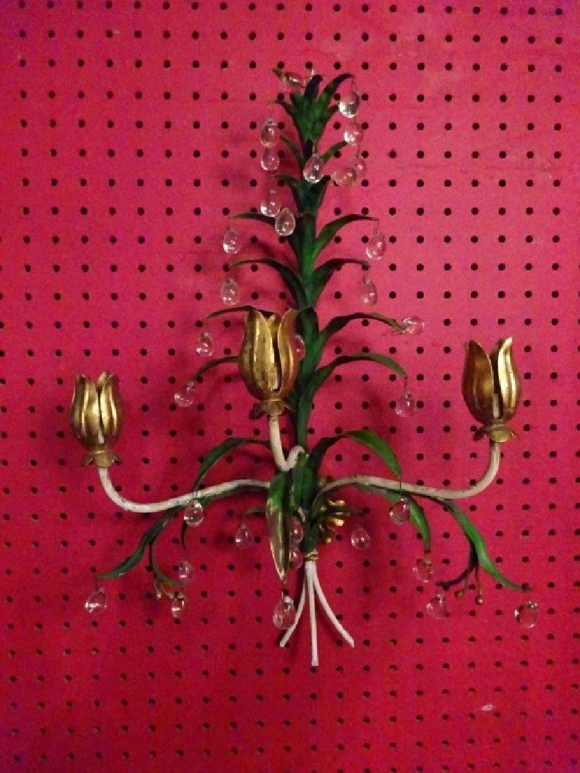 PAIR METAL WALL SCONCES WITH CRYSTAL DROPS, 3 LIGHTS - 2