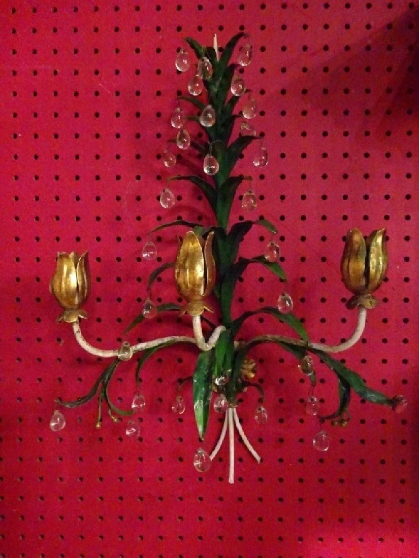 PAIR METAL WALL SCONCES WITH CRYSTAL DROPS, 3 LIGHTS - 5
