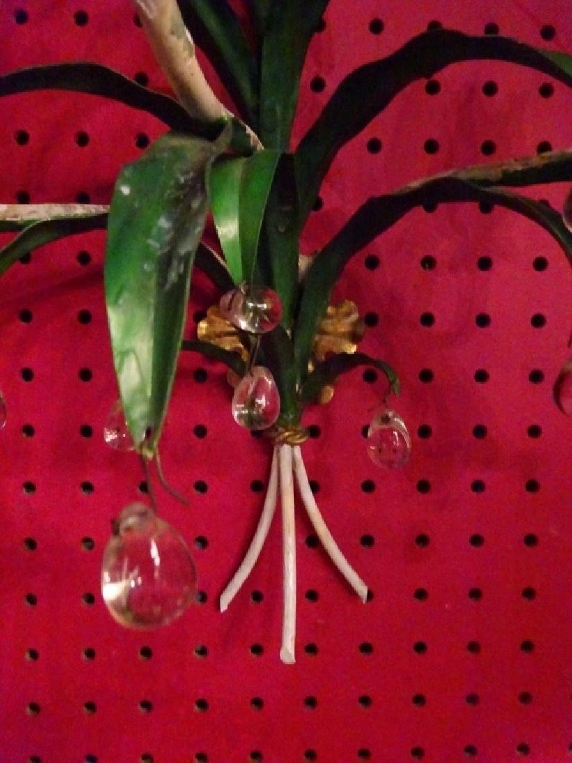 PAIR METAL WALL SCONCES WITH CRYSTAL DROPS, 3 LIGHTS - 8