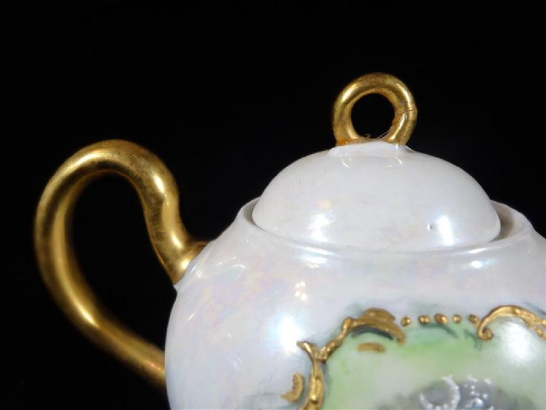MARTIAL REDON LIMOGES PORCELAIN TEAPOT WITH LID, CIRCA - 3