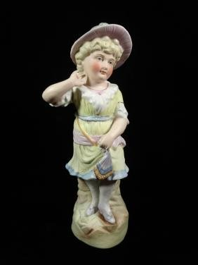 "CERAMIC FIGURINE, BLUSHING YOUNG WOMAN, APPROX 10.75""H"