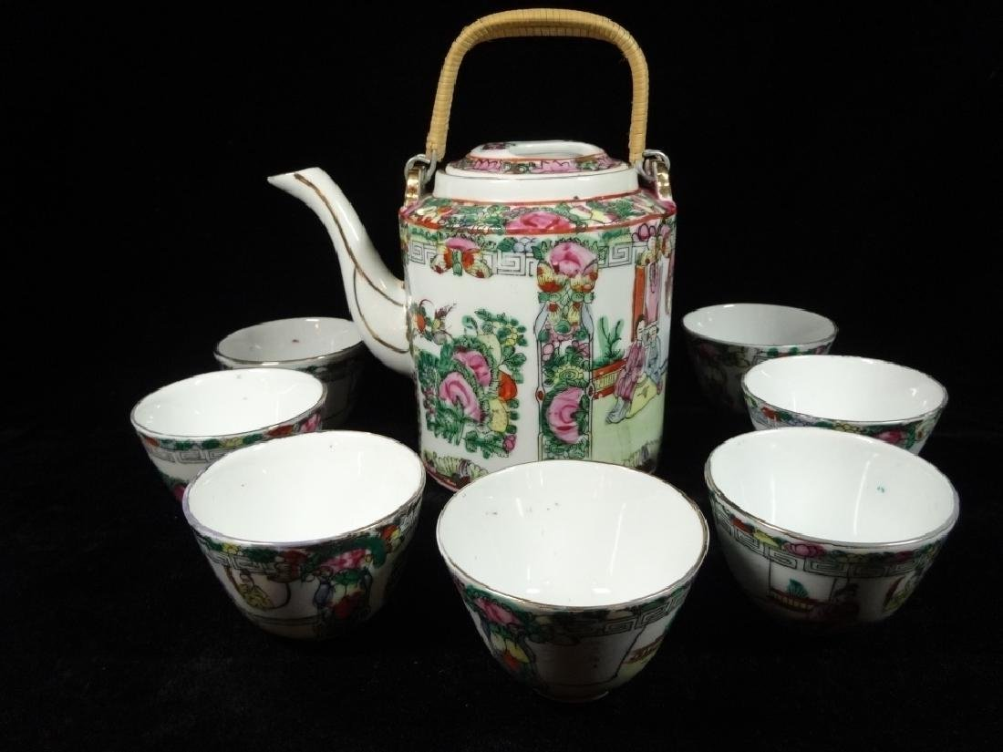 8 PC CHINESE PORCELAIN TEAPOT & 7 CUPS, CHOPMARK