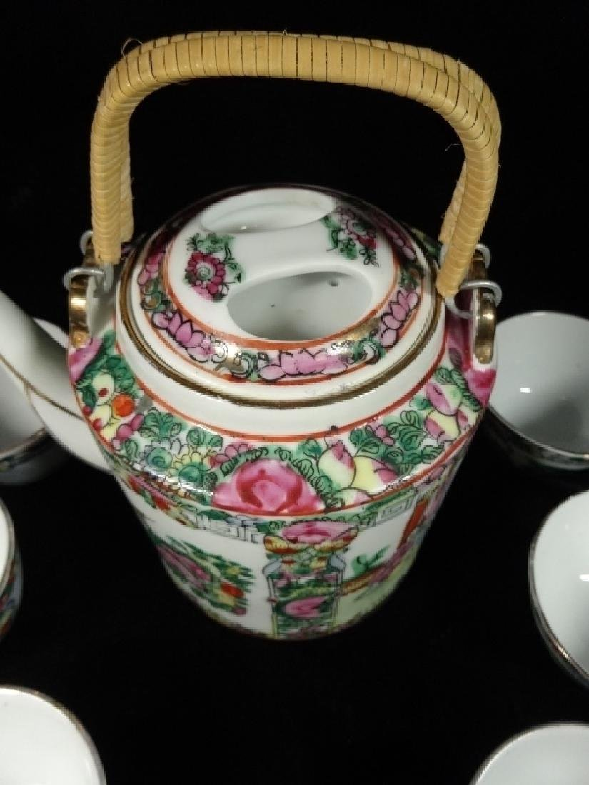 8 PC CHINESE PORCELAIN TEAPOT & 7 CUPS, CHOPMARK - 3