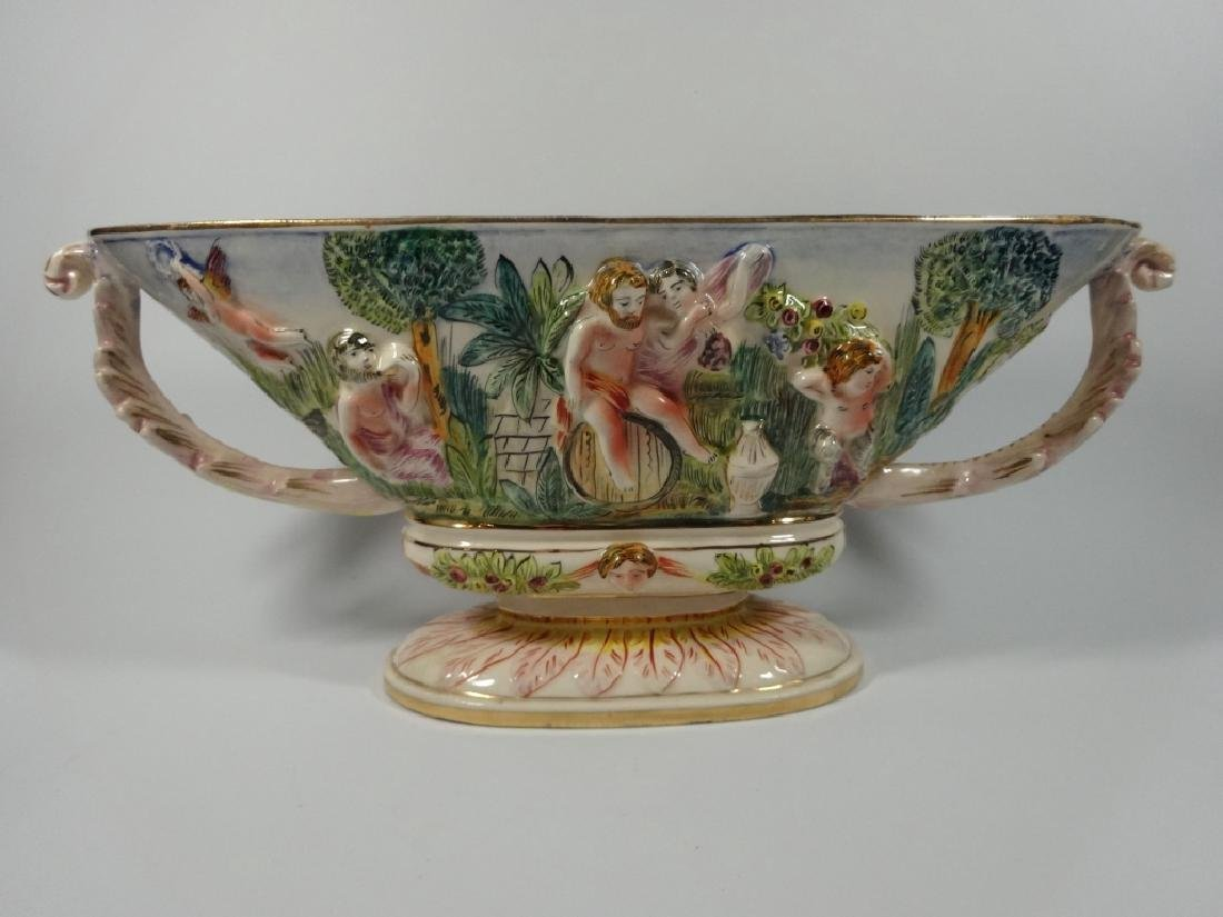 CAPODIMONTE STYLE OVAL PEDESTAL BOWL, MADE IN ITALY,