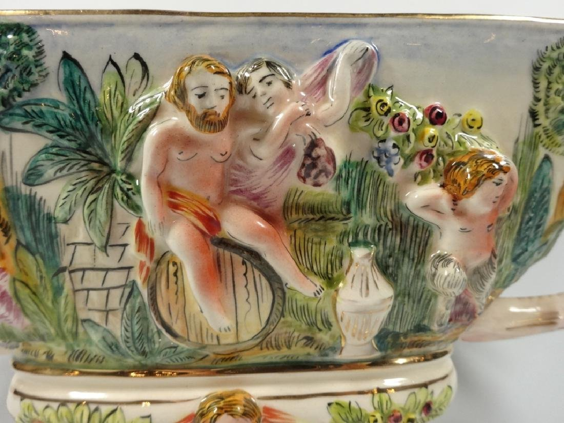 CAPODIMONTE STYLE OVAL PEDESTAL BOWL, MADE IN ITALY, - 3