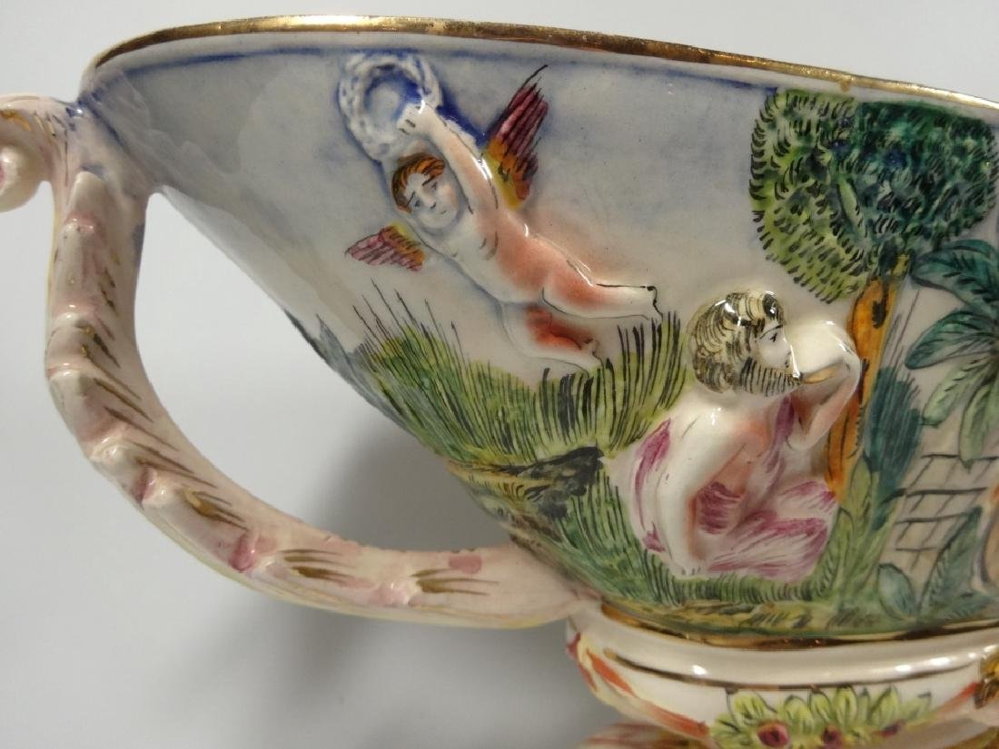 CAPODIMONTE STYLE OVAL PEDESTAL BOWL, MADE IN ITALY, - 4
