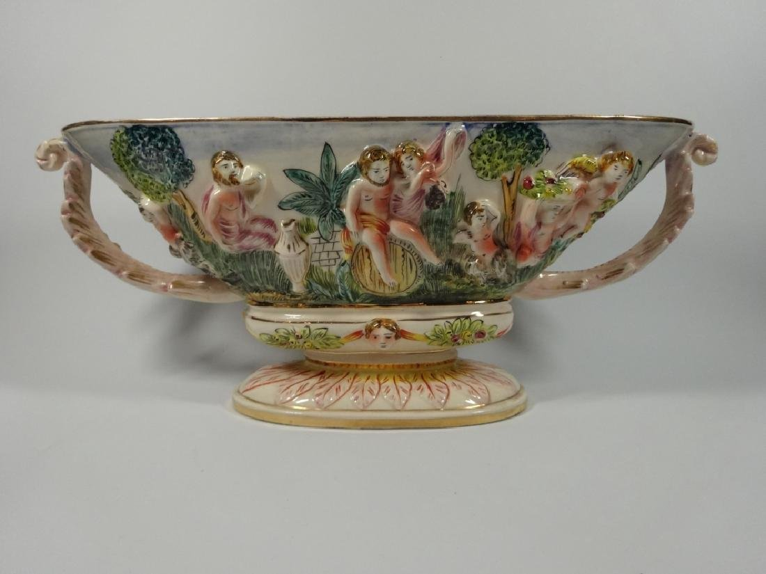 CAPODIMONTE STYLE OVAL PEDESTAL BOWL, MADE IN ITALY, - 6