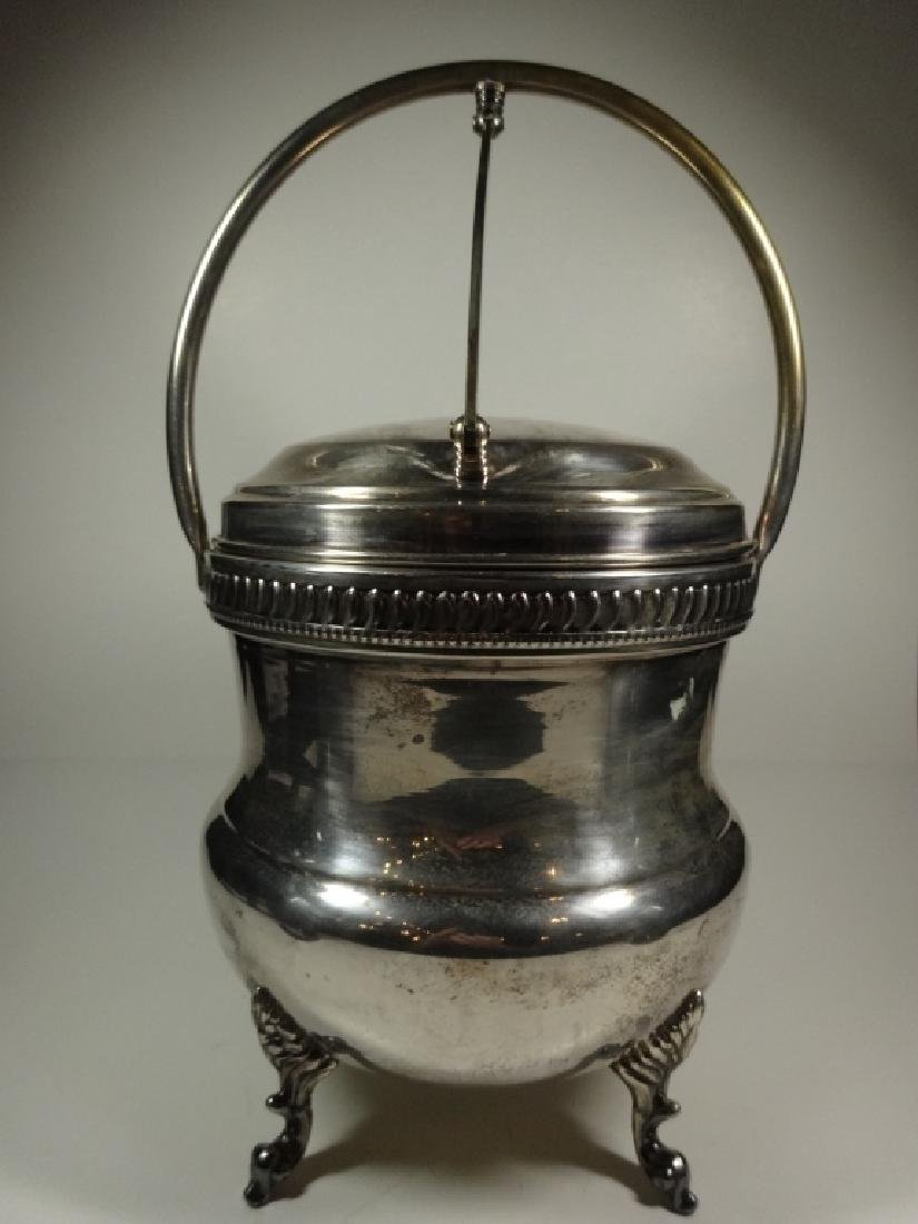 VINTAGE SILVER PLATE ICE BUCKET WITH GLASS INSERT,
