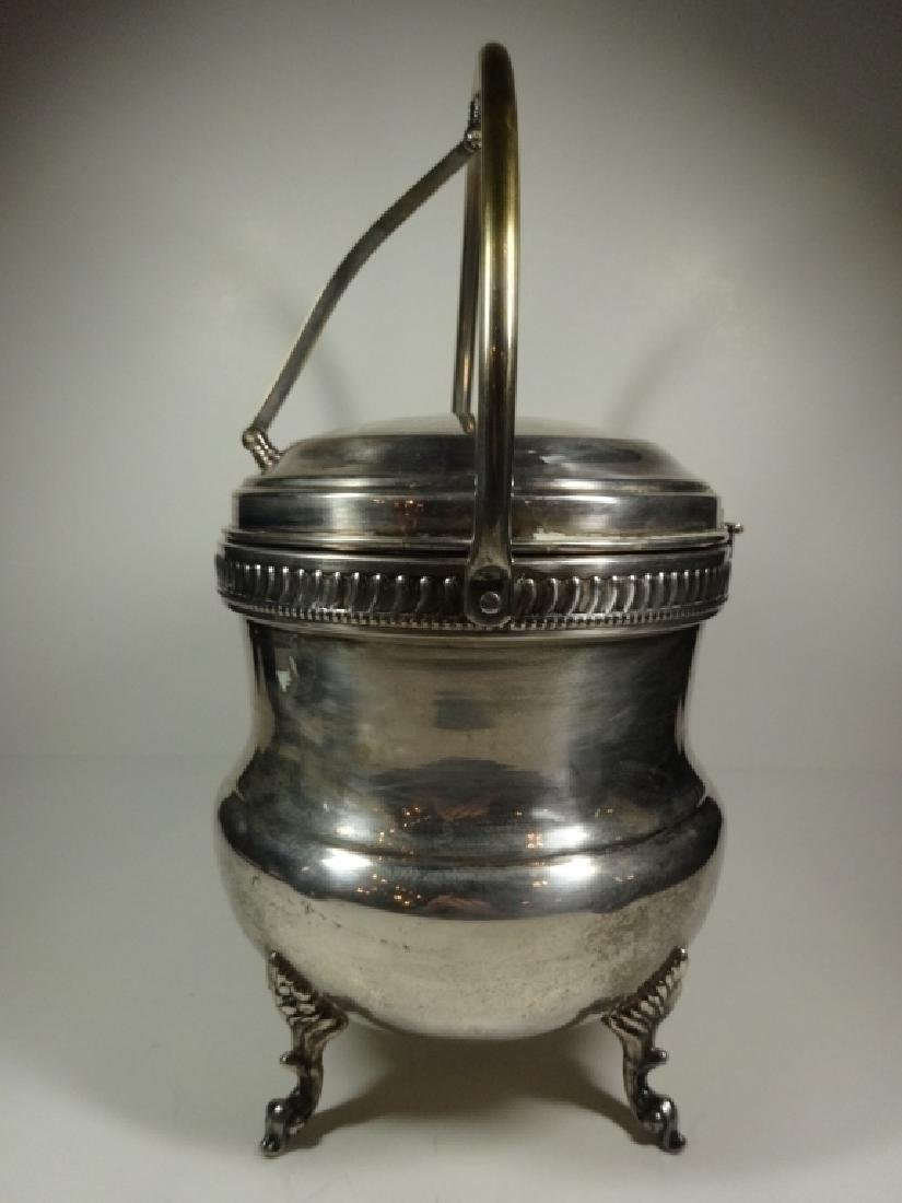 VINTAGE SILVER PLATE ICE BUCKET WITH GLASS INSERT, - 2