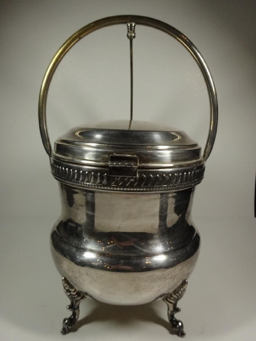 VINTAGE SILVER PLATE ICE BUCKET WITH GLASS INSERT, - 3
