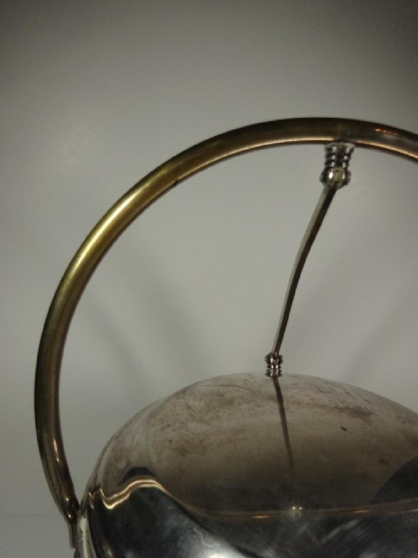 VINTAGE SILVER PLATE ICE BUCKET WITH GLASS INSERT, - 4