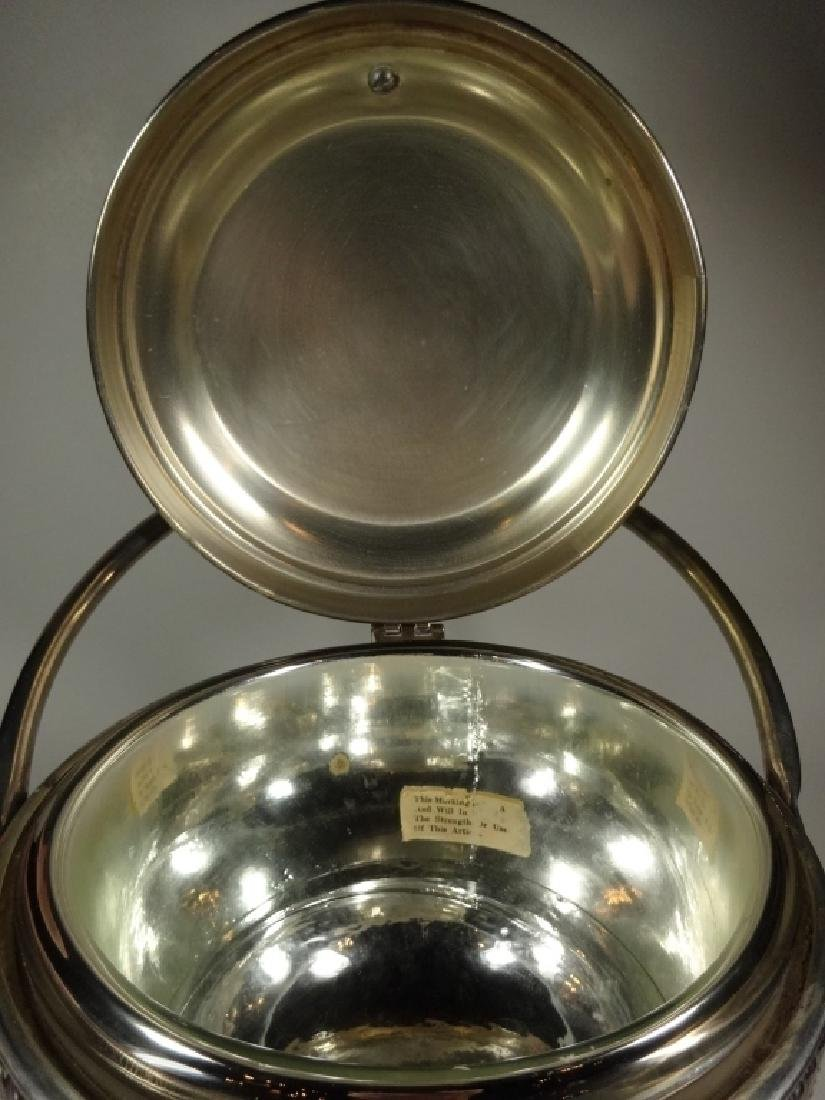 VINTAGE SILVER PLATE ICE BUCKET WITH GLASS INSERT, - 5