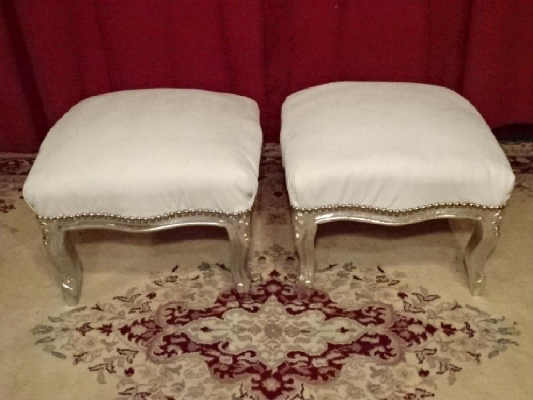 PAIR LOUIS XV STYLE SILVER GILT FOOTSTOOLS, WHITE FAUX - 2