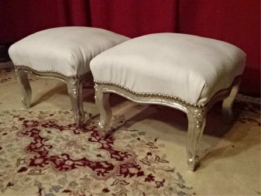 PAIR LOUIS XV STYLE SILVER GILT FOOTSTOOLS, WHITE FAUX - 5