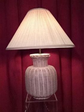 LARGE WICKER TABLE LAMP, BLUSH FINISH AND BLUSH SHADE,