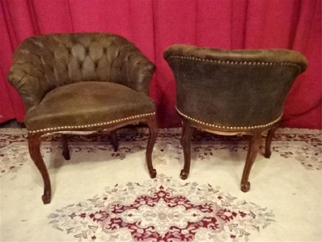 PAIR LOUIS XV STYLE ARM CHAIRS, TUFTED SUEDED BROWN - 2