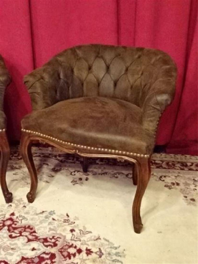 PAIR LOUIS XV STYLE ARM CHAIRS, TUFTED SUEDED BROWN - 4