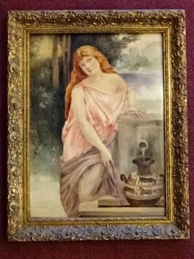 AUSTRIAN PORCELAIN PLAQUE CIRCA 1915, YOUNG LADY WITH