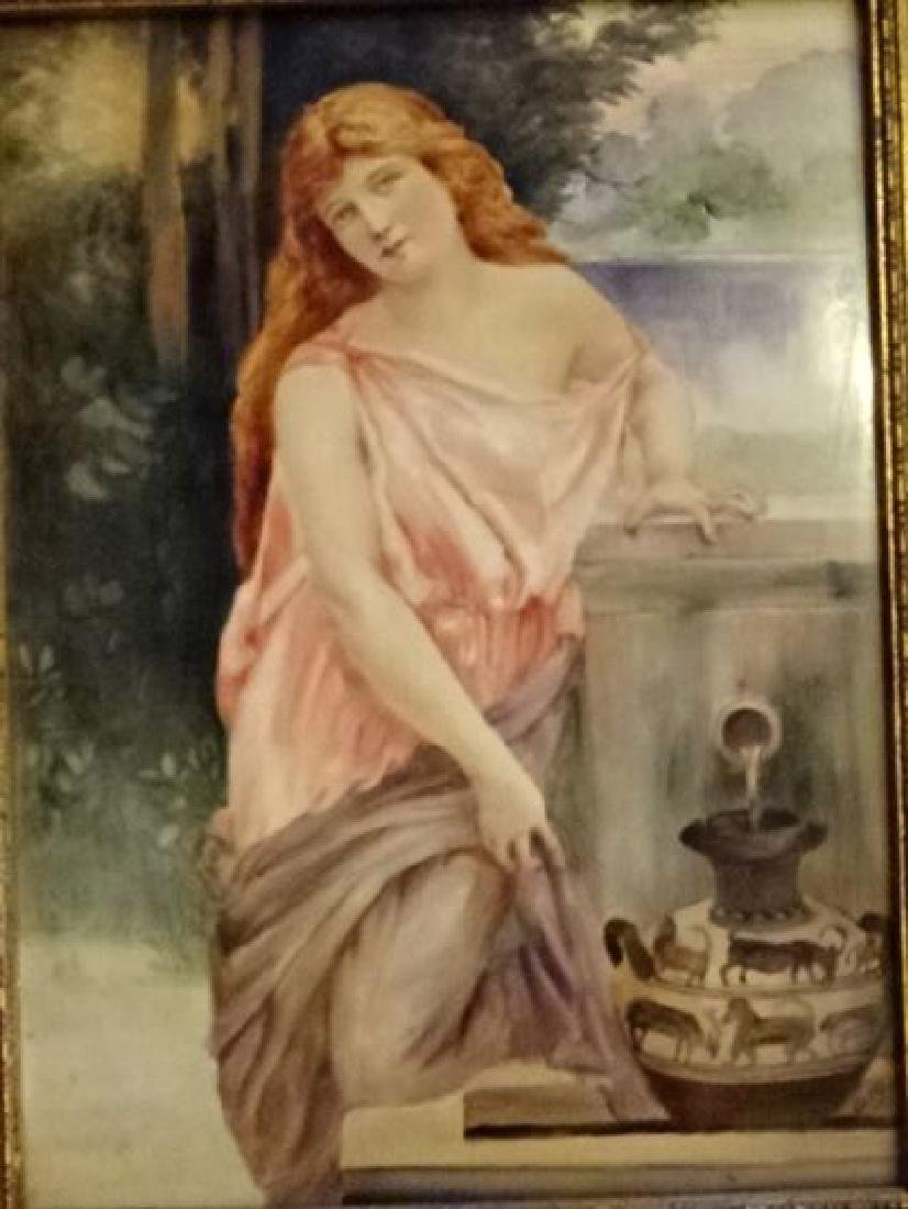 AUSTRIAN PORCELAIN PLAQUE CIRCA 1915, YOUNG LADY WITH - 2