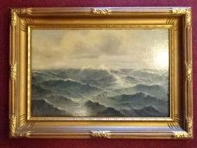 OIL ON CANVAS PAINTING, SEASCAPE, VERY GOOD CONDITION,