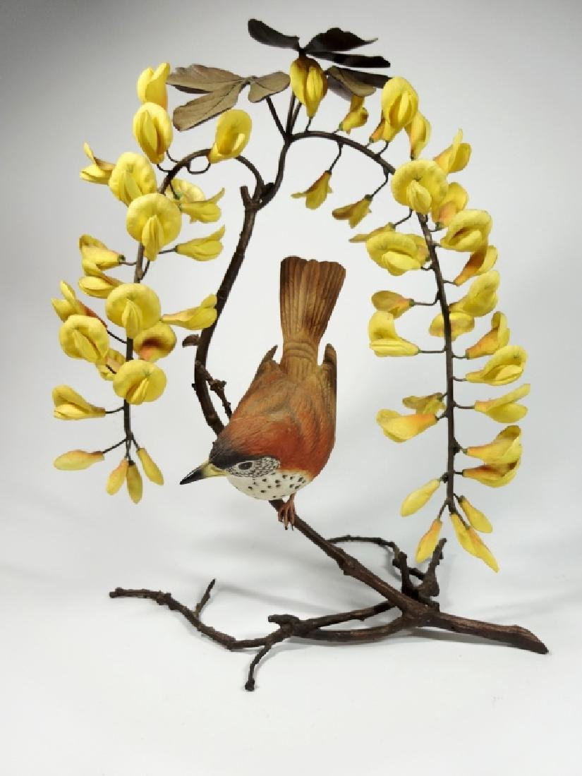 RARE BOEHM PORCELAIN BIRD WITH GOLDEN CHAIN ORCHIDS,