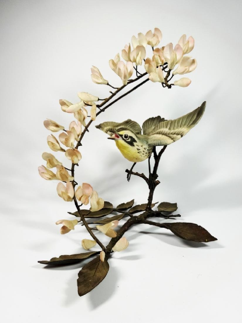RARE BOEHM PORCELAIN BIRD WITH PALE PINK ORCHIDS, BISQU