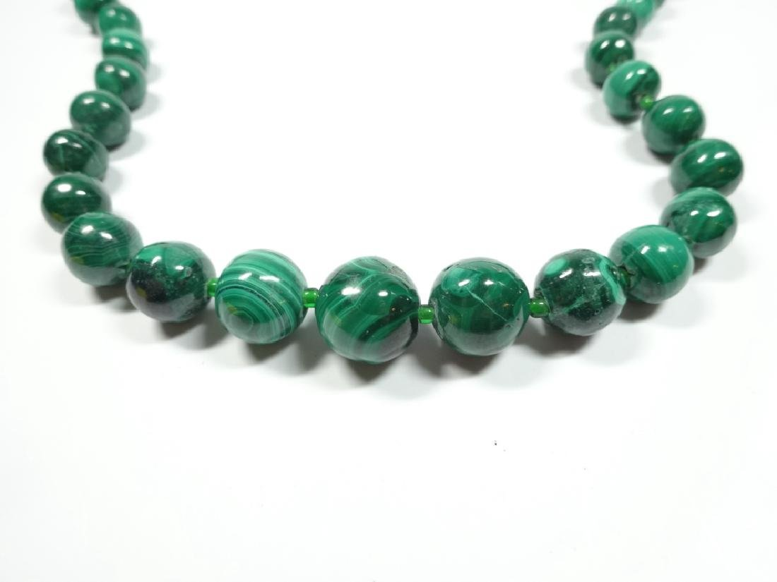 "MALACHITE BEAD NECKLACE, APPROX 18""L"