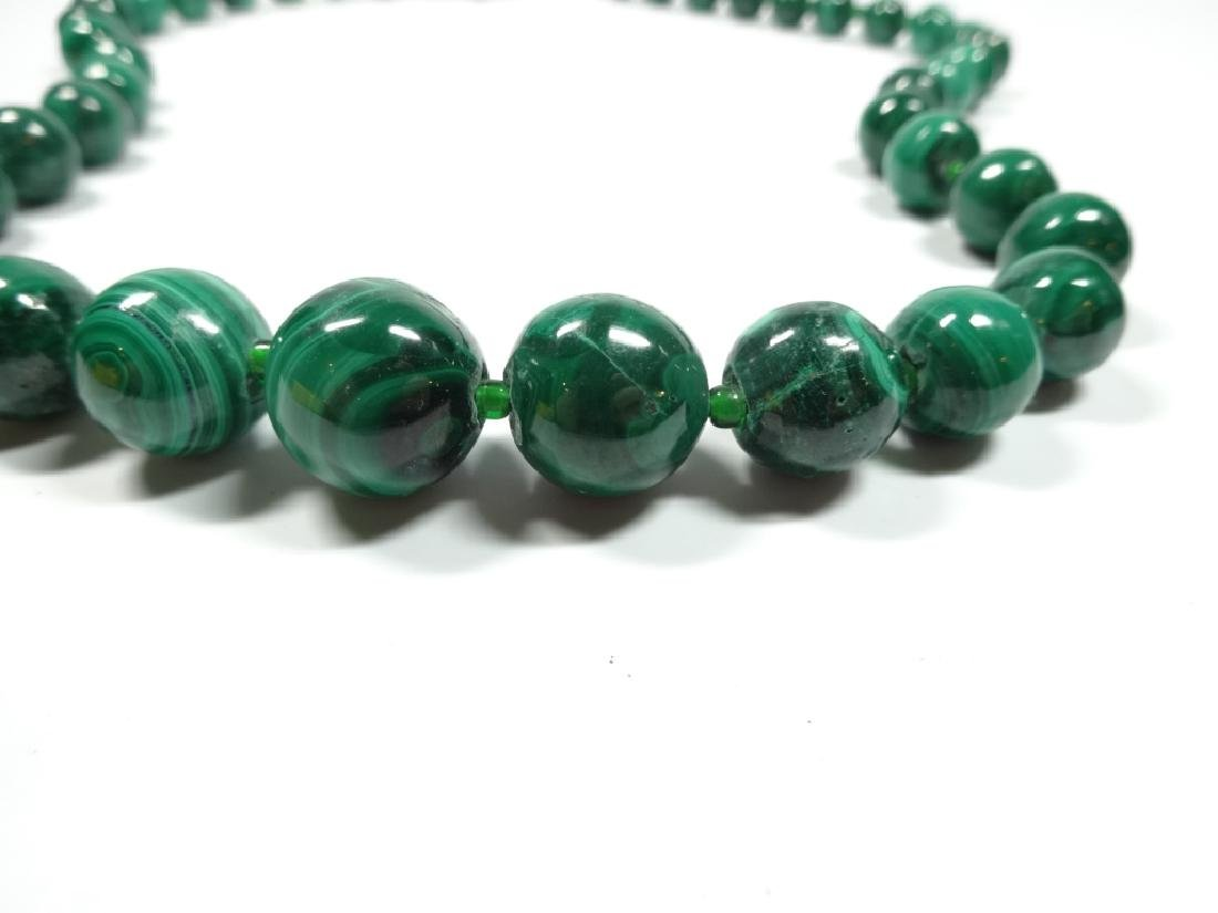 "MALACHITE BEAD NECKLACE, APPROX 18""L - 2"