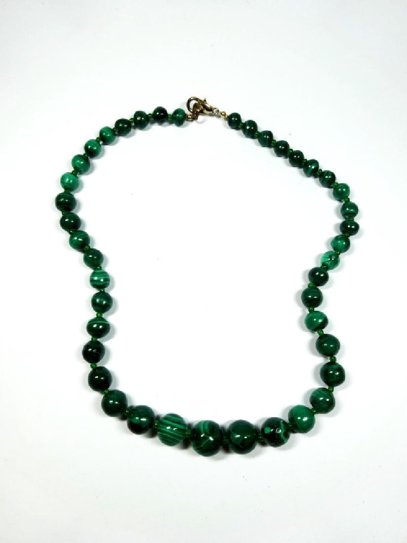 "MALACHITE BEAD NECKLACE, APPROX 18""L - 3"