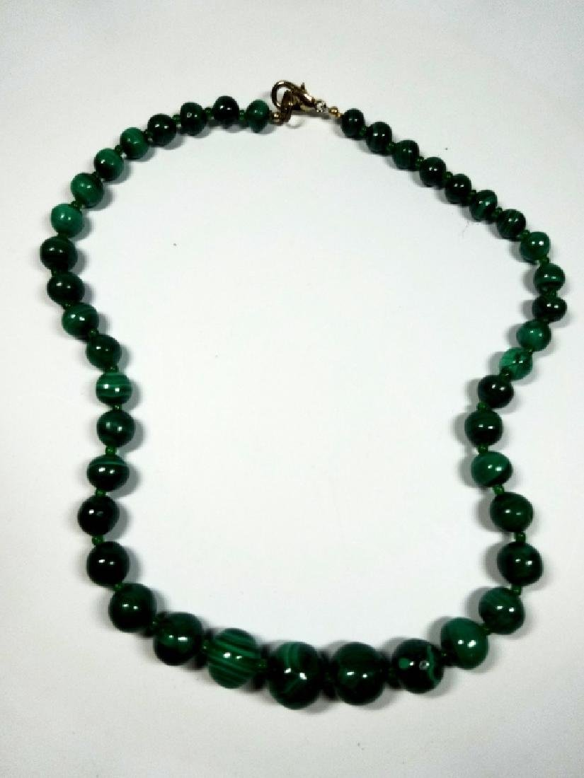 "MALACHITE BEAD NECKLACE, APPROX 18""L - 4"