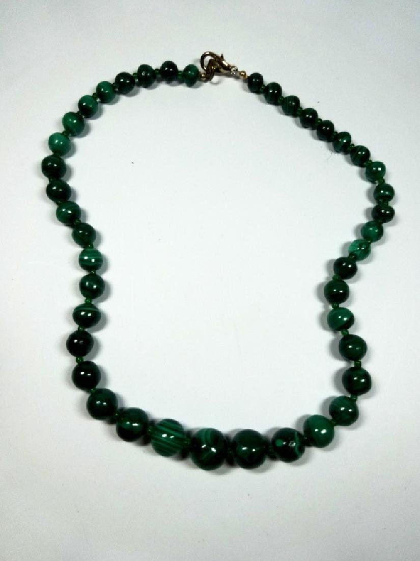 "MALACHITE BEAD NECKLACE, APPROX 18""L - 5"