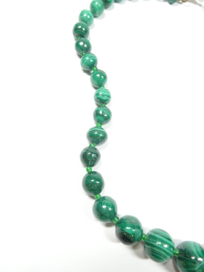 "MALACHITE BEAD NECKLACE, APPROX 18""L - 6"