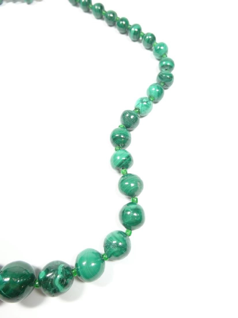 "MALACHITE BEAD NECKLACE, APPROX 18""L - 7"