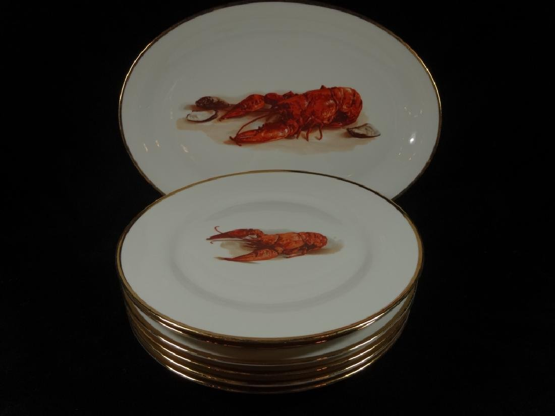 7 PC LOBSTER PATTERN CHINA, MADE IN ITALY, INCLUDES 6