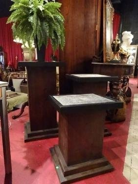3 WOOD COLUMN STYLE PEDESTALS, REMOVABLE FAUX LEATHER