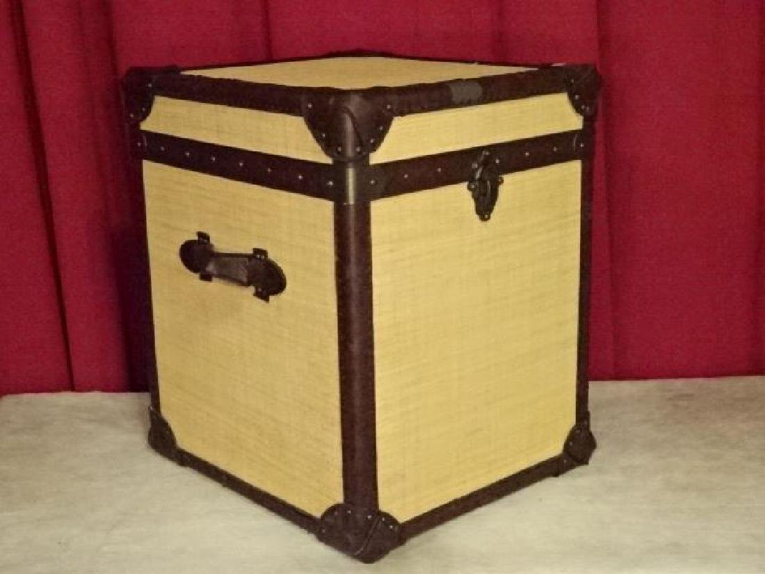 LARGE LEATHER ACCENTED TRUNK, VERY GOOD CONDITION WITH