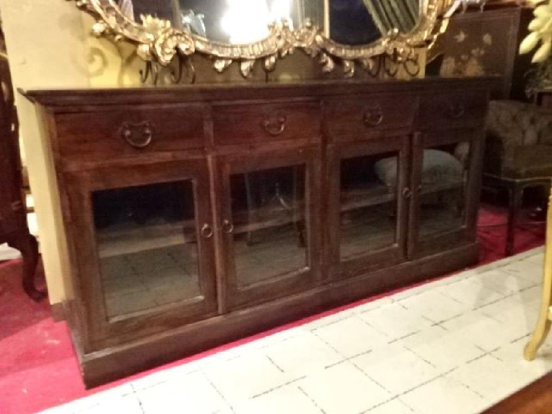 WOOD SIDEBOARD, 4 DRAWERS OVER 4 GLASS DOORS, METAL