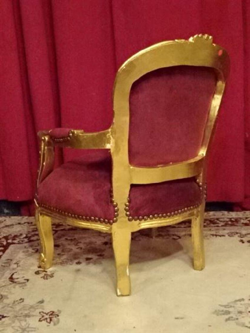CHILD SIZE GOLD GILT WOOD ROCOCO CHAIR, TUFTED BURGUNDY - 5