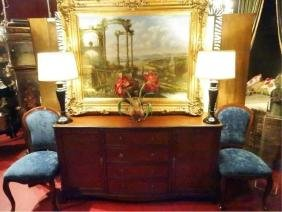 WOOD SIDEBOARD, 4 DRAWERS FLANKED BY TWIN CABINETS,