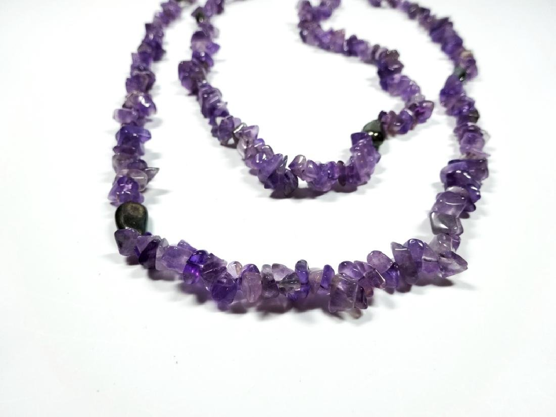 """AMETHYST BEAD NECKLACE, APPROX 38""""L"""
