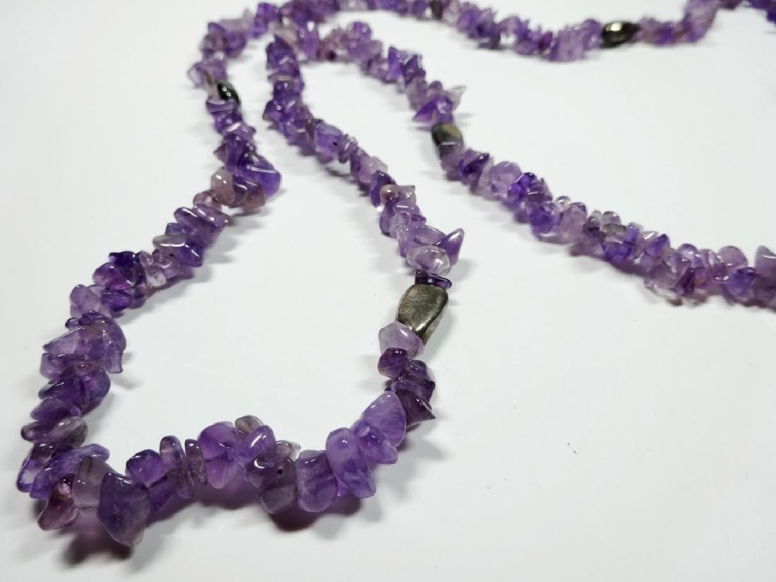 """AMETHYST BEAD NECKLACE, APPROX 38""""L - 3"""