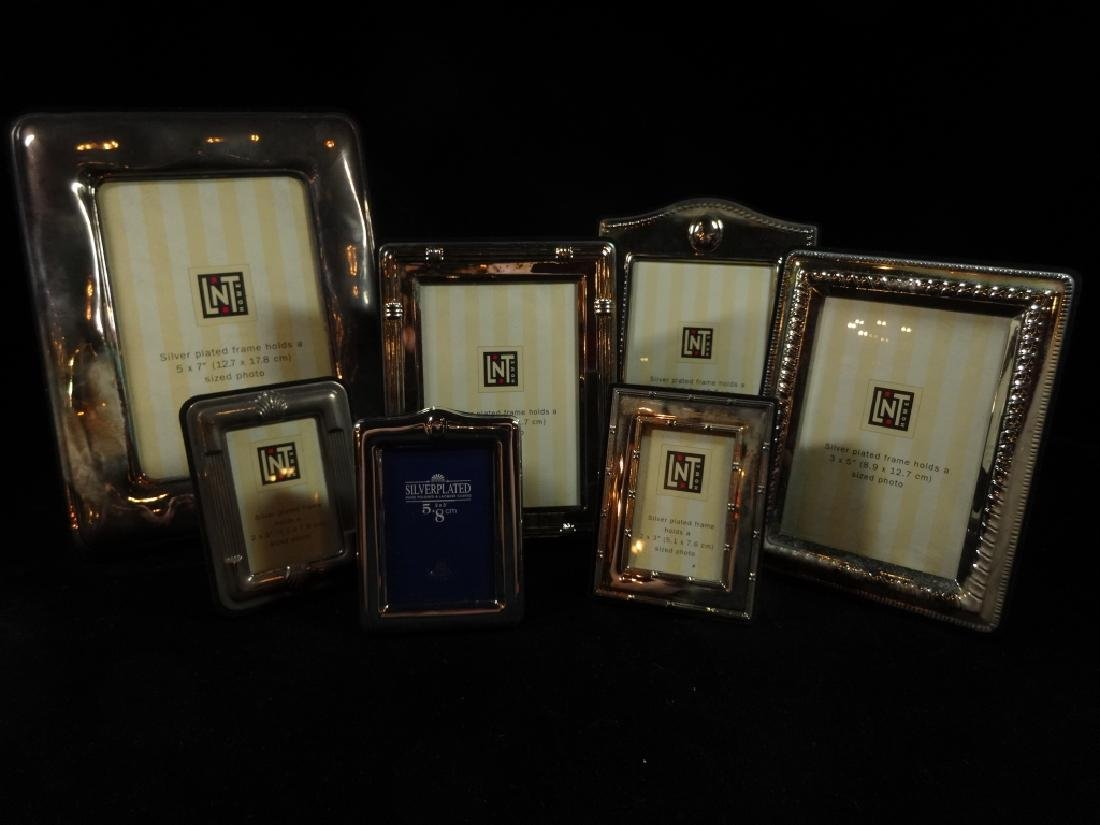 7 PC SILVER PLATE PICTURE FRAMES, TARNISHED, NOT