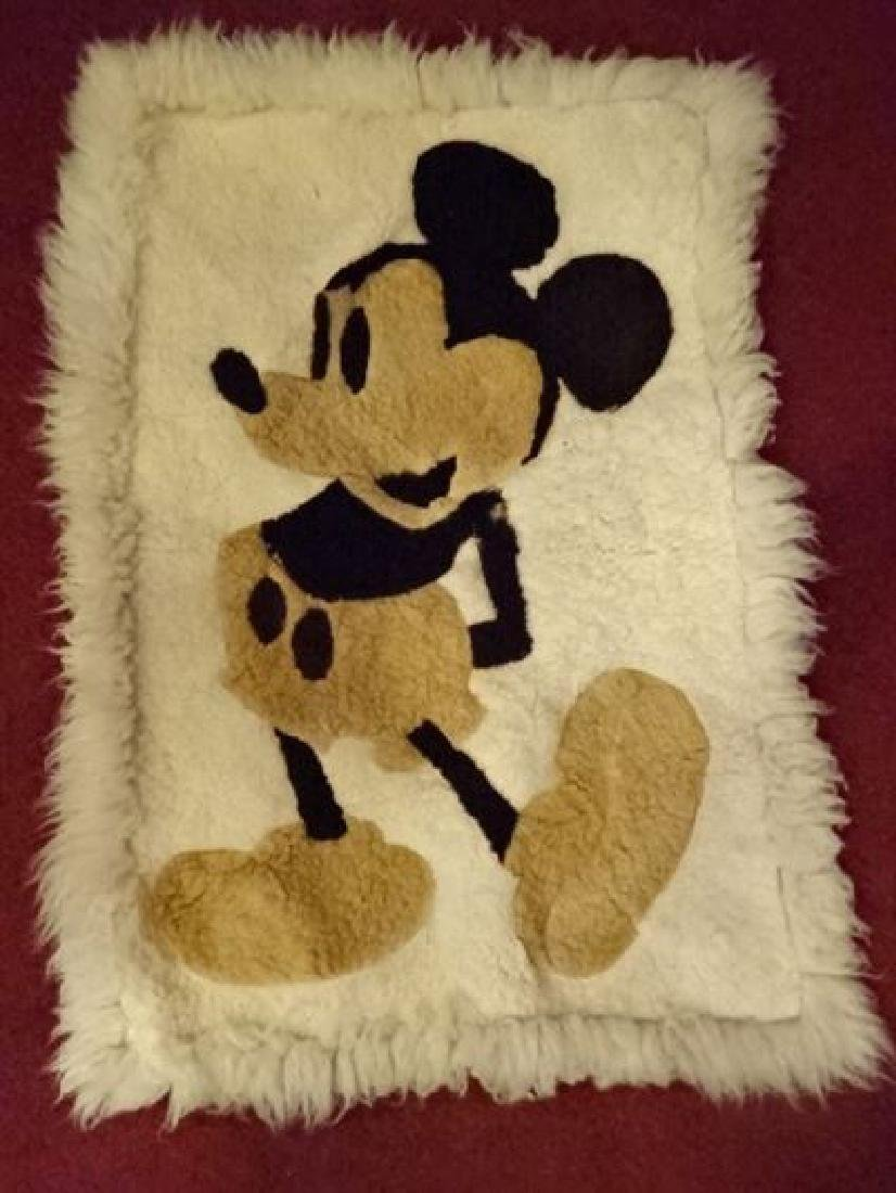 VINTAGE MICKEY MOUSE NATURAL WOOL RUG, VERY GOOD