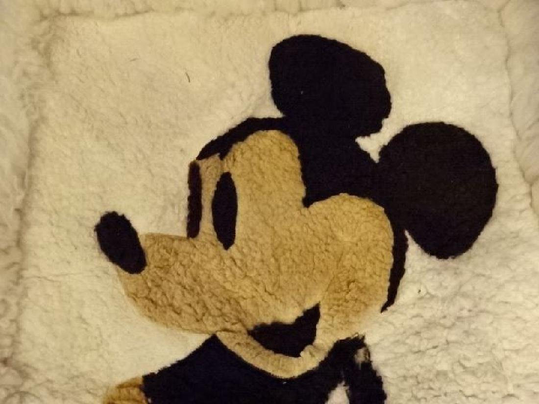 VINTAGE MICKEY MOUSE NATURAL WOOL RUG, VERY GOOD - 2