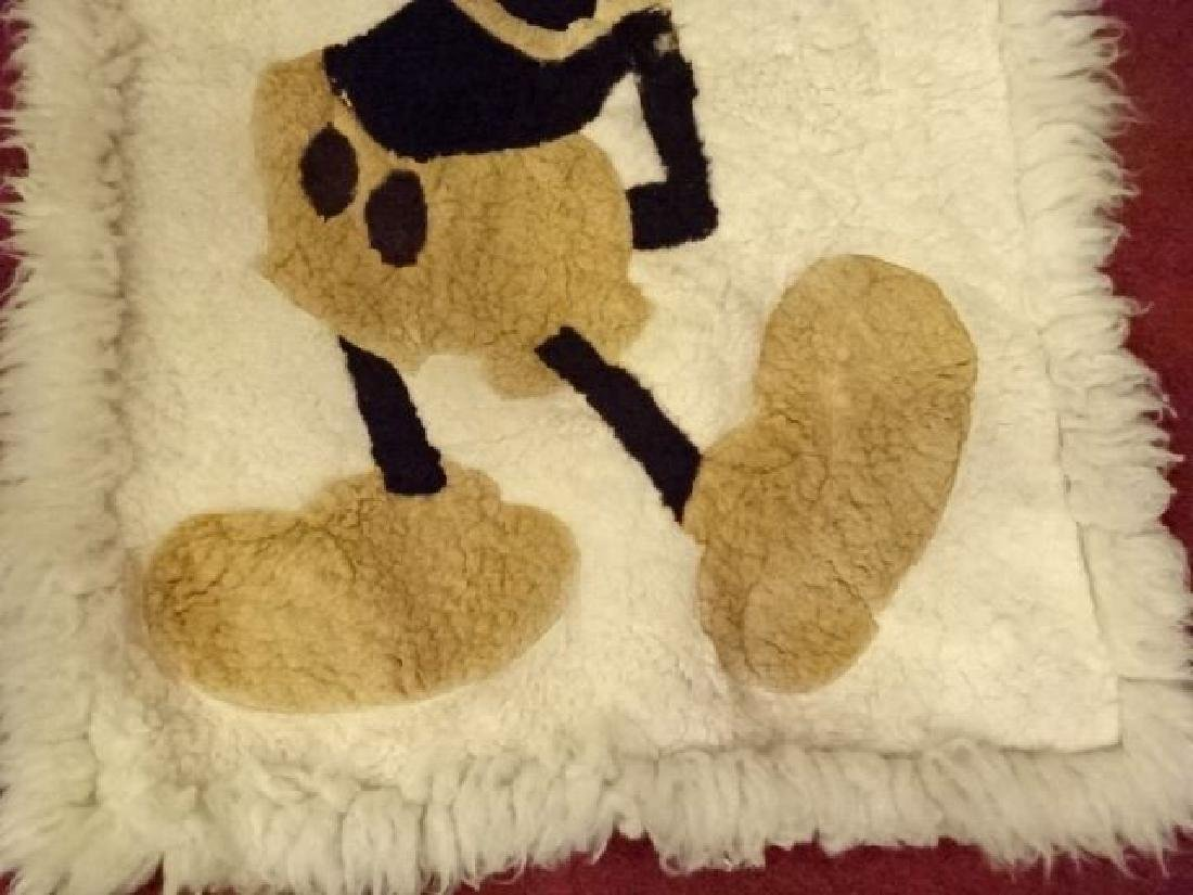 VINTAGE MICKEY MOUSE NATURAL WOOL RUG, VERY GOOD - 3
