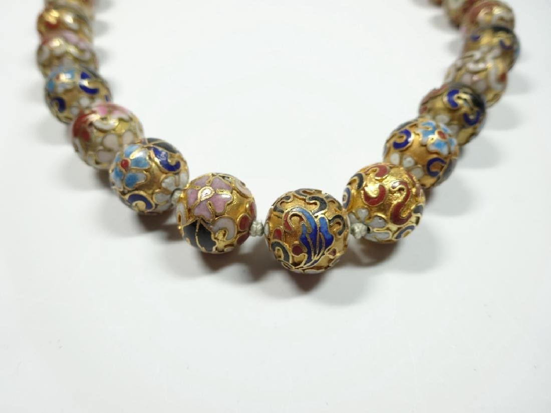 "CLOISONNE BEAD NECKLACE, APPROX 21""L"