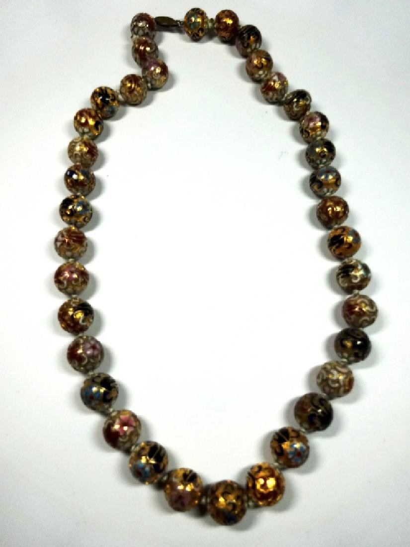 "CLOISONNE BEAD NECKLACE, APPROX 21""L - 2"