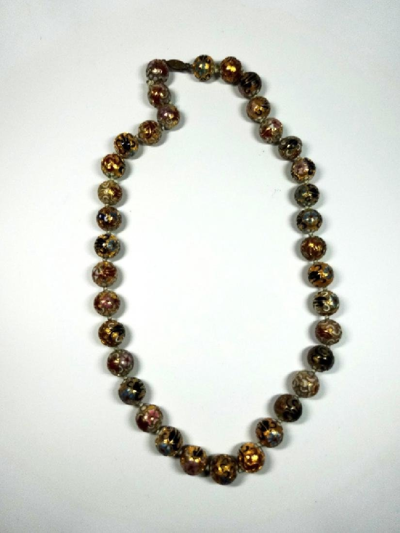 "CLOISONNE BEAD NECKLACE, APPROX 21""L - 3"